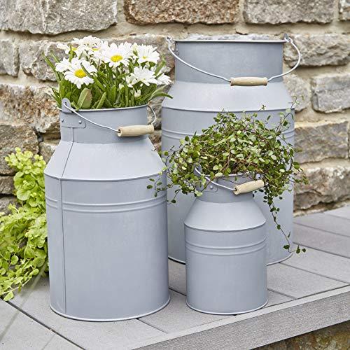 Wunderschönes Zinkgefäß/Zinkbehälter zum Bepflanzen - Farbe: Natur Zink - Innen & Außen - Winterfest - Pflanzgefäß/Gartendeko (Milchkanne - 3er Set)