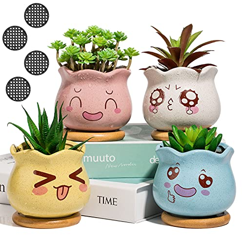Yangbaga 3.5inch Succulent Pots, Ceramic Succulent Planter and Cactus Pot with Bamboo Tray and Drainage Hole for Home and Office Decoration, Facial Expression Design, Pack of 4