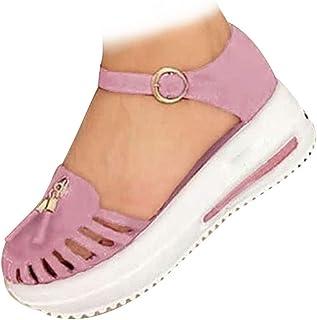 Sandales compensées décontractées à talon moyen avec sangle de cheville pour femme