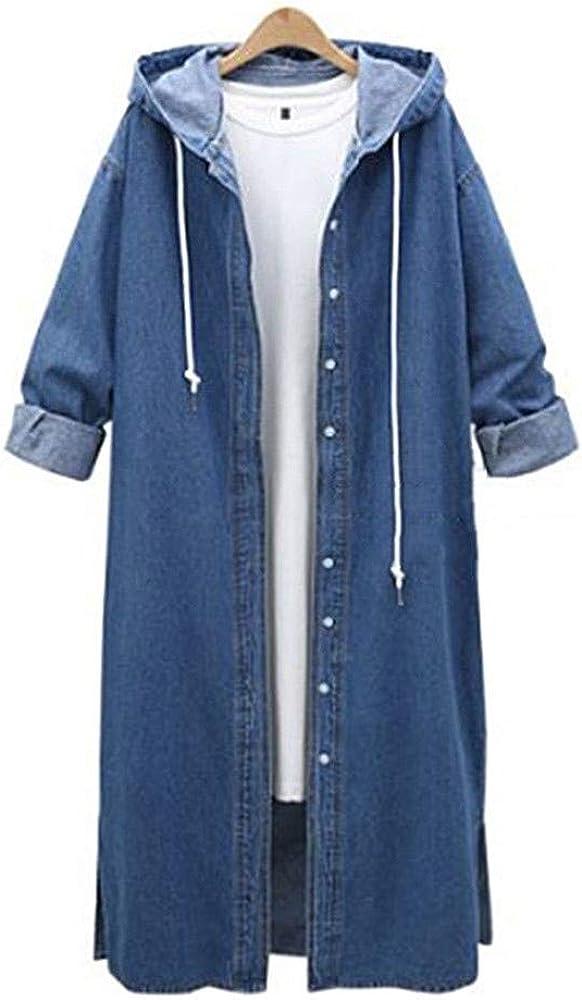 Trench Coats for Women Women Denim Jacket Casual Long Hooded Outwear Jeans Overcoat