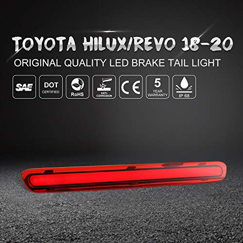 LED 3rd Lamp Assy Center Stop Genuine Rear Tailgate High Mounted Brake Light Transparency Running Water Design Gradual Change and Flash Fits TOYOTA HILUX REVO 2015-2020 Series 81570 OEM Replacement