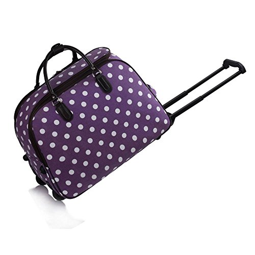 LeahWard XL Holdall Travel Luggage Bags Trolley Luggage with Wheels 309 (Purple Dot Holdall)