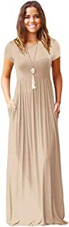 Meou & Moi Women's Short Sleeve Loose Fit Casual Maxi Dress with Pockets (XL, Beige)