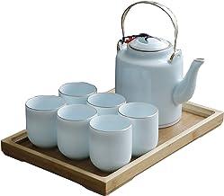 8-delige Japanse Thee Cup Set, Porselein Theeset 6 Kopjes, 1 Theepot, 1 Lade, Aziatische Theeset voor Thee Lover/Vrouwen/M...