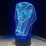Wangzj 3D luz de la noche control táctil colorido táctil niños lámpara decoración pequeñas luces LED regalos de Halloween Egipto faraón forma
