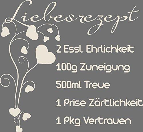 GRAZDesign 810186_50_816 Wandtattoo Spruch Liebesrezept | Wandaufkleber mit Herzen für Schlafzimmer | Sticker in 47 Farben (54x50cm//816 Antique White)