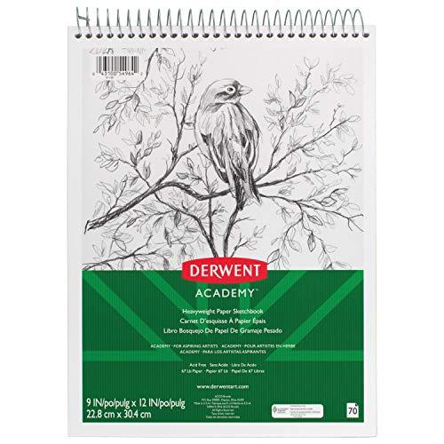 """Derwent Academy Sketchbook, Heavyweight Paper, Topbound Sketch Book, 70 Sheets, 9"""" x 12"""" (54964)"""