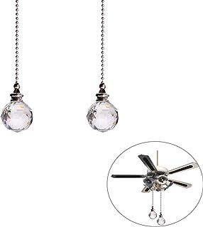 VICSPORT 2 juegos de extensión de cadena de bola de cristal transparente con conector para lámpara de techo y cadena de ventilador