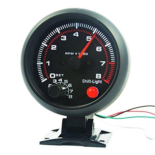 """BAAQII 3.75\"""" Universal Car Tachometer Tacho Messgerät LED Shift Licht 0-8000 U/min"""