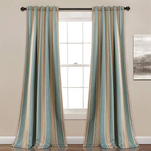 "Lush Decor Lush Décor Julia Stripe Room Darkening Window Curtain Panel Pair, 84"" x 52"", Blue"