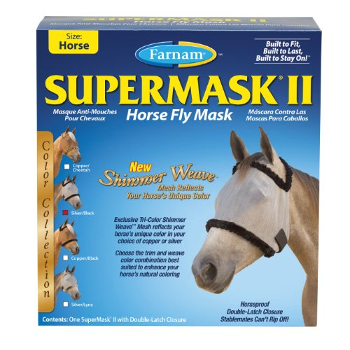 Farnam Supermask II Shimmer Weave Horse Fly Mask, Horse size, Silver Mesh with Black Trim