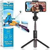 Power Theory Bluetooth Selfie Stick mit Handy Stativ und Fernauslöser - Selfiestick für iPhone 11 Pro Max XS X XR SE 8 7 6s Samsung Galaxy S20 S10+ S9 S8 S7, Huawei und alle Smartphones - Selfi Tripod