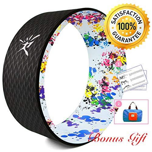 Risefit Dharma Yoga Prop Wheel for Yoga Poses, Black Printed