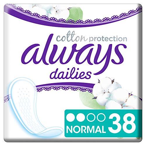 Always Cotton Protection Normal Dailies Slipeinlagen (38 Stück) atmungsaktiver Schutz & angenehmer Tragekomfort mit Oberfläche aus 100% Bio-Baumwolle, ohne Parfüm & Farbstoffe
