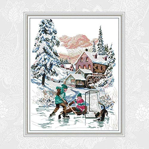 Cross Stitch kit for Beginners and Adult Snow shed DIY Cross Stitch kit Decoration Needlework 40x50cm (11CT pre-Printed Canvas)
