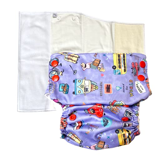 Bumpadum Duet Pro Night Diaper for Overnight/Heavy Wetter Usage (Bon Voyage)