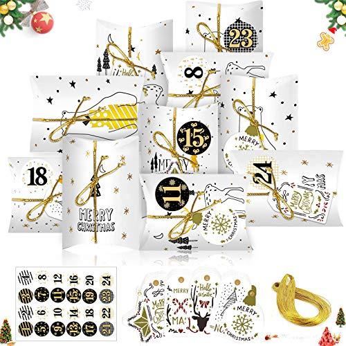 Sunshine smile 24 Weihnachtskalender Box,Weihnachtskalender Bastelset,Adventskalender zum Befüllen,Weihnachten Geschenkbox Kraftpapier,kleine geschenkbox Weihnachten,Klein Geschenkschachtel(Weiß)
