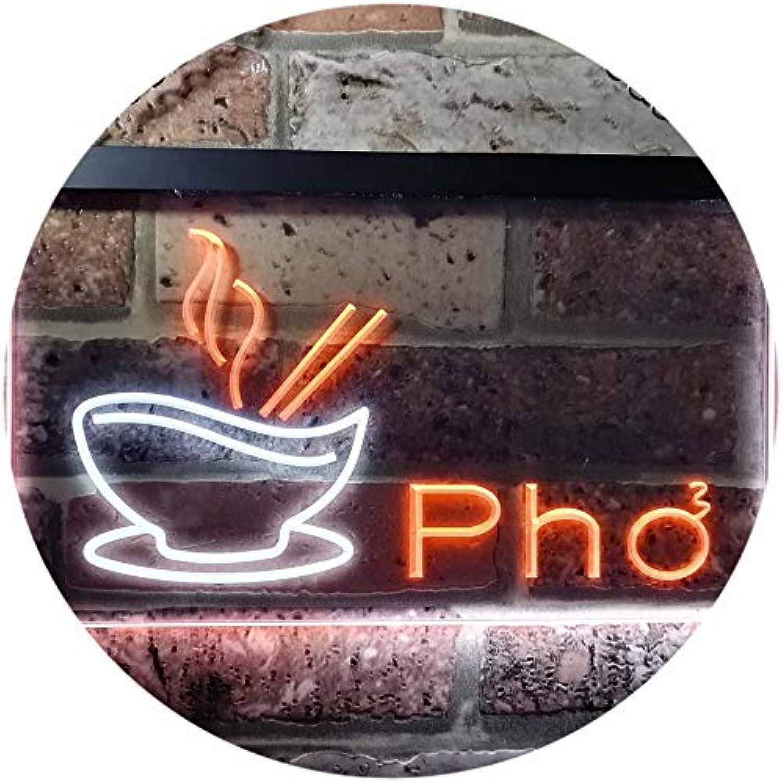 ADVPRO Pho Vietnamese Noodles Restaurant Dual Farbe LED Barlicht Neonlicht Lichtwerbung Neon Sign Weiß & Orange 400mm x 300mm st6s43-i0459-wo