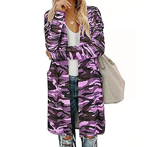 ZFQQ Otoño / Invierno Chaqueta de Punto con Estampado de Camuflaje Multicolor para Mujer
