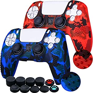 YoRHa Studded Printing Silicone Cover Skin Case for Sony PS5 Dualsense Controller x 2(Camouflage Red+Blue) with Pro Thumb Grips x 10 by YoRHa