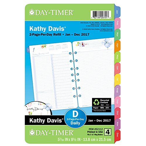 """Day-Timer Planner Refill 2017, 2 Page Per Day, 5-1/2 x 8-1/2"""", Size 4, Kathy Davis (52112)"""