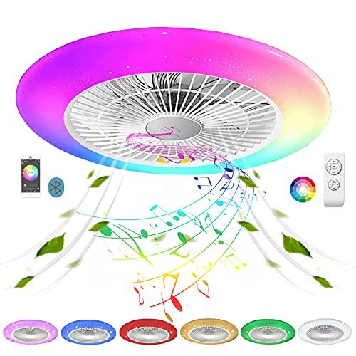 Ventilado Techo con Luz Silencioso Mando a Distancia Pequeño Inspire Color Air RGB Bluetooth Altavoz Plafon LED Ventilador de Techo con Iluminación Lampara Regulable Circulos Cielo Dormitorio