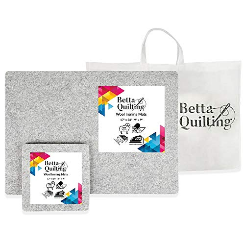 """Betta Quilting Set 24"""" x 17"""" Wool Pressing Mat for Quilting Large Size & Travel Size 9"""" x 9"""" - 100% Pure New Zealand Wool Portable Iron Pad - Pro-Result Ironing Mats for Quilters"""