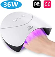 Nail Polish Curing Lamps, 36W UV Light LED Nail Dryer Curing Lamp Fingernail & Toenail Polishes Art Professional with Sensor by Huretek (3 Times)