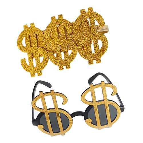 joyMerit 2 Uds Brillo Dorado Signos de Dlar Gafas de Fiesta Anillo Hip Hop Unisex Adultos Disfraces Disfraz Cosplay Prop