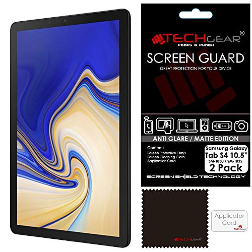 TECHGEAR [Pack of 2] Anti Glare Screen Protectors for Samsung Galaxy Tab S4 10.5 Inch (SM-T830 / SM-T835) - Matte Lcd Screen Protector Guard Covers With Screen Cleaning Cloth & Application Card