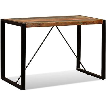 vidaXL Table de Salle à Manger Table à Dîner Table de Repas Meuble de Salle à Manger Cuisine Maison Intérieur Bois de Récupération Massif 120 cm