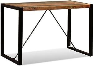 vidaXL Table Salle à Manger Bois de Récupération Massif 120 cm Table à Manger