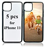 JUSTRY 5 PCS Sublimation Blanks Phone Case Cases Covers Compatible with Apple iPhone 11, 6.1-Inch (2019) Blank Printable Phone Case for DIY Soft Rubber Protective Shockproof Slim Case Anti-Slip