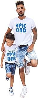 Ropa para Padres Camiseta Hombres y niños Colores sólidos Deportivos Casuales Camiseta de Manga Corta