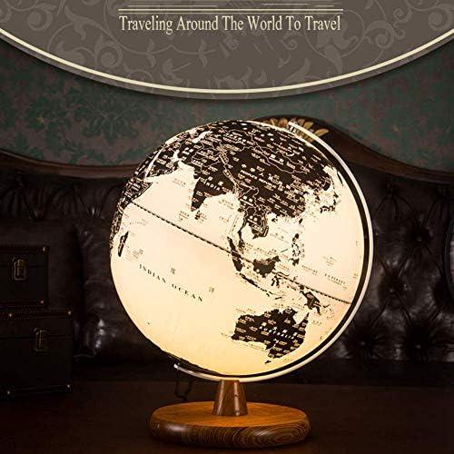 Hplights Weltkarte Globus, 13  Rotierende Erde Globus Kugel mit Led Display Stütze - Geografie Bildungs Kinderspielzeug Geschenk für Kind,Massivholz Basis