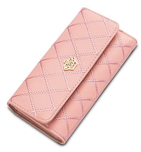 Damen Krone Geldbörse Süß PU Leder Elegant Portemonnaie (Rosa)