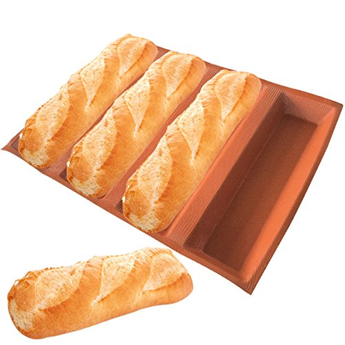 Bluedrop Silicone Bread Forms 12' Hot Dog Bread Molds Non Stick Silicone Coated Fiber Glass Bakery Trays Moulds