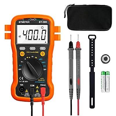 Voltage Meter Autoranging - BTMETER BT-39K Digital Multimeter 4000 Counts Universal Meter With NCV, Continuity, Diode Test, for AC DC Volt Tester Current, Resistance, Capacitance, Frequency, Backlit
