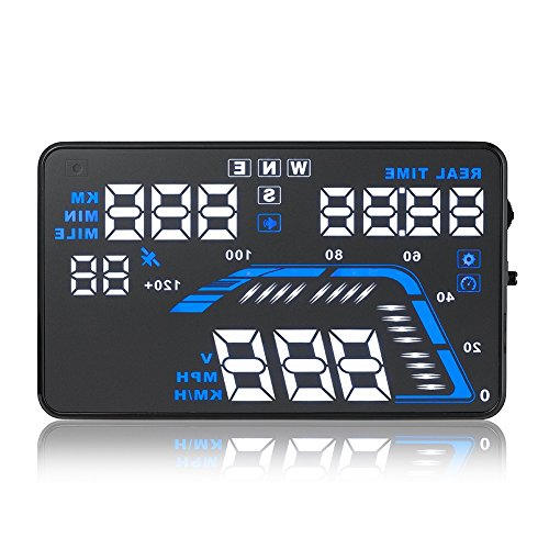 """Universal 5.5"""" Car HUD Head Up Display OBD2 Interfaz Parabrisas Proyector Sistema Tiempo/Dirección/Sobrevelocidad Aviso"""