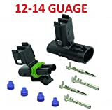Muzzys 12-14 AWG Guage 2 Pin Position Terminal Weather Pack WeatherPack Connector Male Female Set Weather Proof