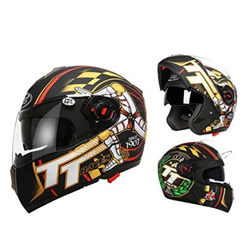 helmet Casco de Motocicleta Cuatro Temporadas Casco Abierto de Cara Abierta Universal Casco de Cara Completa Modular (XL / 57-59cm) Negro Mate/Isla de Man TT