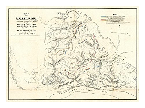 """Global Gallery Art on a Budget Otto H. Matz Civil War Map of The Field of Shiloh Near Pittsburgh Landing Tennessee 1862"""" Unframed Giclee on Paper Print, 15 7/8"""" x 22"""" -  Bentley Global Arts, DP-295148-22"""