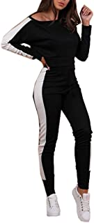 FSSE Womens Color Blocked Long Sleeve Crop Top and Pants 2 Piece Sports Tracksuits