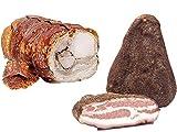 Mix Degustazione di Prodotti Artigianali composto da Trancio di porchetta di Ariccia IGP 2 kg + Guanciale al Pepe c.a. 1.3 kg