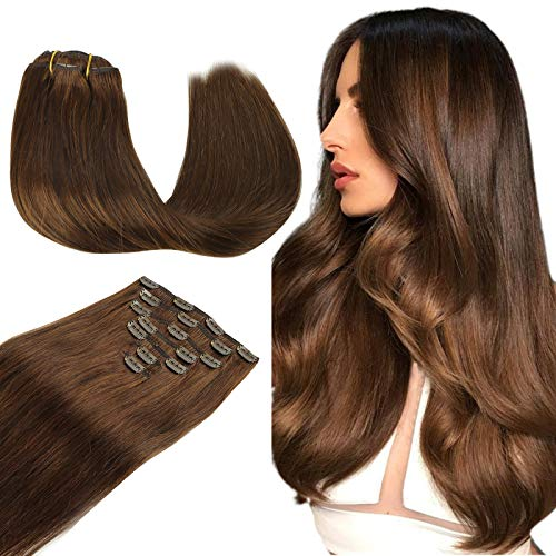 Wennalife Clip in Human Hair Extensions, 14 Inch 120g 7pcs Chocolate Brown Hair Extensions Clip In Human Hair Short Straight Remy Clip in Hair Extensions Real Human Hair Double Weft