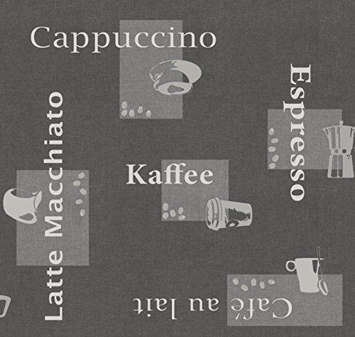 DecoHomeTextil Wachstuch d-c-fix Kaffee Cappuccino Espresso RUND OVAL ECKIG Größe & Farbe wählbar Grau 140 x 200 cm Eckig abwaschbare Tischdecke