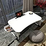 Lap Desk with Storage Drawer, Cup and Phone Holder, Laptop Bed Tray Table, 23.6' Foldable Laptop Desk, Laptop Stand for Working, Writing, Gaming and Drawing (23', White)
