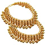 Fresh Vibes Golden Traditional Payal Fancy Anklet Set for Women – Ladies Pearl Heavy Ghungroo Anklets Pair for Wedding