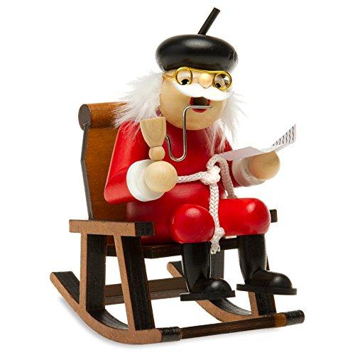Sikora RM-F Räuchermännchen aus Holz Oma oder Opa im Schaukelstuhl, Farbe/Modell:F02 rot - Opa auf dem Schaukelstuhl, Größe:Höhe ca. 16.5 cm