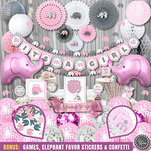 Mega Set Elephant Baby Shower Decorations for Girl | It's A Girl | Banner, Napkins, Straws, Guest Book, Paper Lanterns, Honeycomb Balls, Fans, Cake Toppers, Sash, Balloons, Games | Pink Grey White